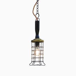 Vintage Industrial French Brass & Wood Caged Ceiling Lamp, 1930s