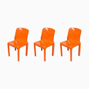 Italian Plastic Selene Dining Chairs by Vico Magistretti for Artemide, 1969, Set of 3