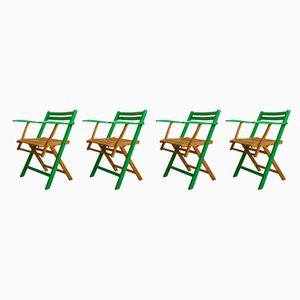 Antique Art Nouveau German Folding Garden Chairs, 1910s, Set of 4