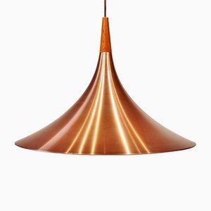 Lámpara de techo danesa moderna de teca y cobre, años 60