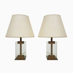 Italian Bronze and Glass Table Lamps by Pietro Chiesa for Fontana Arte, 1930s, Set of 2