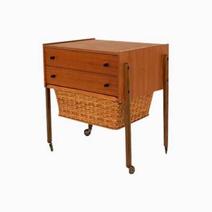 Mid-Century Ducth Rattan and Teak Sewing Box Trolley, 1960s