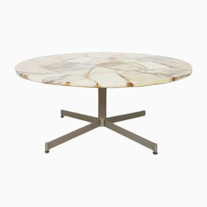 Mid-Century Steel Marble-Look Round Coffee Table, 1960s