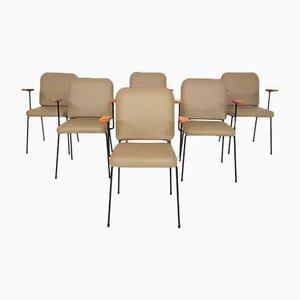 Chaises de Salle à Manger en Similicuir Beige et Métal, 1960s, Set de 6