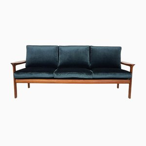 Danish Green Velvet 3-Seater Sofa by Sven Ellekaer for Komfort, 1960s