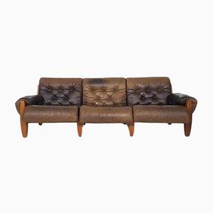 Sofá vintage de roble y cuero, años 70