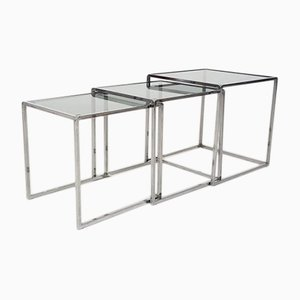 Vintage Danish Chrome and Smoked Glass Nesting Tables, 1970s