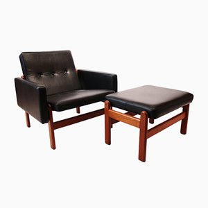 Danish Leather & Teak Lounge Chair & Footstool by Børge Mogensen for FDB, 1960s