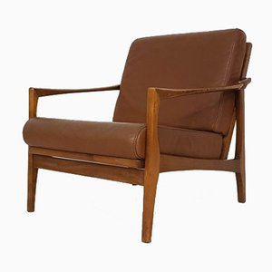 Mid-Century German Leather and Wood Lounge Chair, 1960s