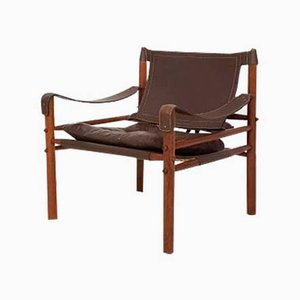 Leather and Wood Lounge Chair by Arne Norell for Scanform, 1960s