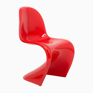 Silla Cantilever alemana de plástico rojo de Verner Panton para Vitra, años 90