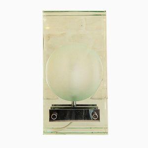 Minimalistische italienische Tischlampe aus Chrom & Glas von Gallotti & Radice, 1970er