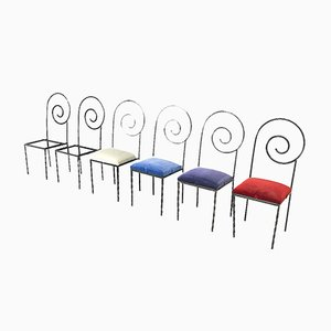 Italian Suspiral Dining Chairs by Luigi Serafini for Sawary & Moroni, 1984, Set of 6