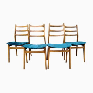 Mid-Century Esszimmerstühle mit petrolfarbenem Samtbezug von Casala, 4er Set