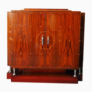 Vintage Art Deco Glazed Walnut Cabinet, 1920s