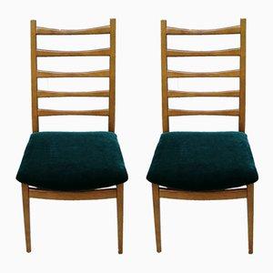 Mid-Century Esszimmerstühle mit grünem Samtbezug von Welzel, 1960er, 2er Set