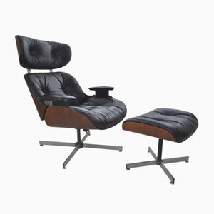 Leather and Walnut Lounge Chair & Ottoman by George Mulhauser for Plycraft, 1960s