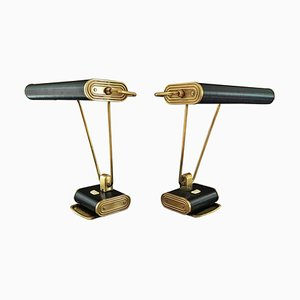 French Brass Table Lamps by Eileen Gray for Jumo, 1940s, Set of 2