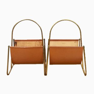 Brass and Leather Magazine Racks by Carl Auböck, 1950s, Set of 2