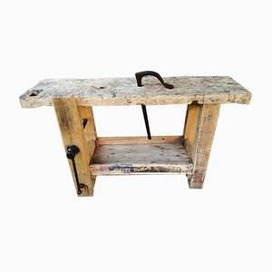 Antique Industrial French Ash Worktable