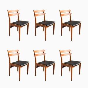 Chaises en Teck avec Pieds en Chêne par Poul M. Volther, 1960s, Set de 6