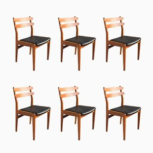 Danish Teak Chairs with Oak Legs by Poul M. Volther, 1960s, Set of 6