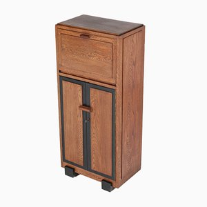 Art Deco Haagse School Oak Cabinet or Dry Bar, 1920s