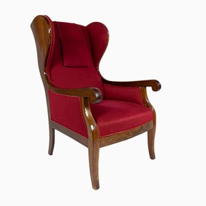 Red Wingback Armchair by Frits Henningsen, 1940s