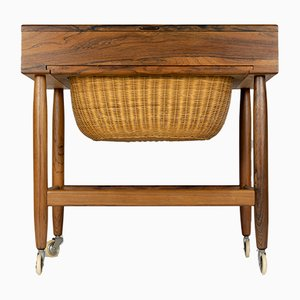 Mid-Century Danish Rosewood Sewing Table by Ejvind Johansson, 1960s