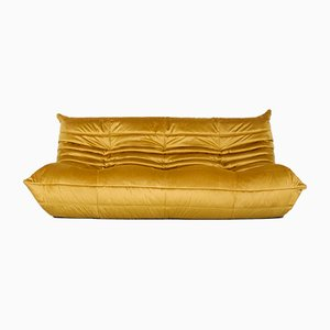 Velvet 3-Seater Togo Sofa by Michel Ducaroy for Ligne Roset, 1990s