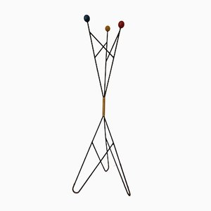 French Iron and Wood Coat Rack by Roger Feraud, 1960s