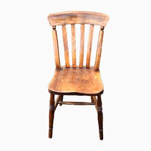 Antique Elm Kitchen Chairs, Set of 10