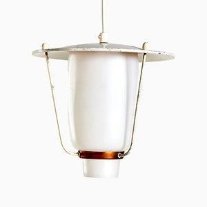 Lámpara de techo de cobre y vidrio esmerilado, años 70