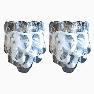 Lámparas de pared italianas vintage de vidrio, años 80. Juego de 2