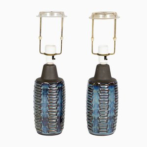 Blue Table Lamps by Einer Johansen for Soholm, 1960s, Set of 2