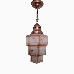 Art Deco German Brass and Colored Glass Ceiling Lamp
