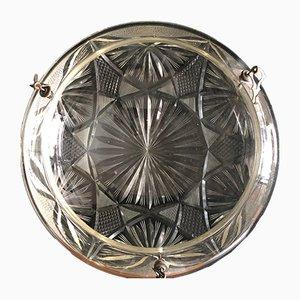 Lampada da soffitto in cristallo e vetro, anni '30
