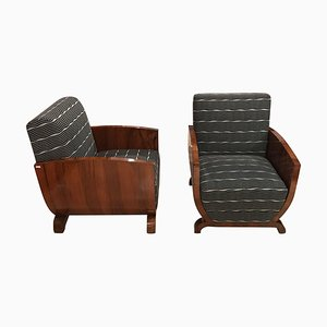Art Deco French Walnut Club Chairs, 1930s, Set of 2