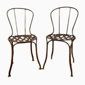 Antike französische Gartenstühle aus Schmiedeeisen, 2er Set