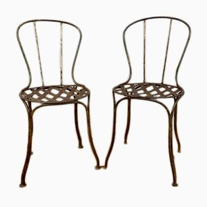 Antique French Wrought Iron Garden Chairs, Set of 2