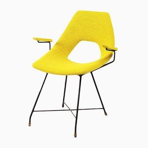 Italienischer Schreibtischstuhl mit Gestell aus Stahl von Augusto Bozzi für Saporiti Italia, 1950er