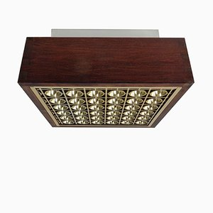 Vintage Wood & Metal Flush Mount with Gold-Coloured Grid, 1970s