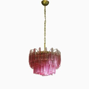 Lámpara de araña italiana vintage de cristal de Murano con marco dorado, 1984