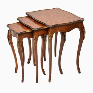 Vintage French Inlaid Parquetry Wooden Nesting Tables, 1920s