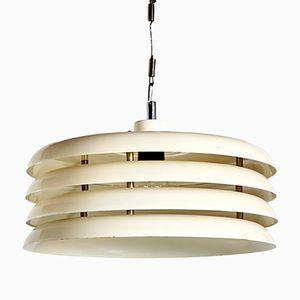 Lámpara de techo blanca cromada de Tamás Borsfay para Hungarian Craftsmanship Company, años 70