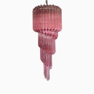 Vintage Italian Pink Murano Glass Chandelier, 1983