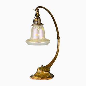 Lampe de Bureau Antique Art Nouveau en Laiton et Verre, 1908