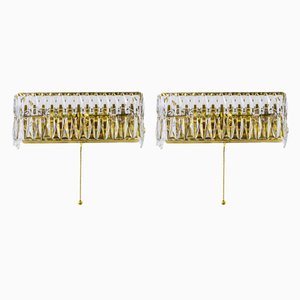 Brass and Cut Glass Sconces from Bakalowits & Söhne, 1960s, Set of 2