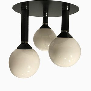 Space Age German Cast Iron and Glass Ceiling Lamp, 1970s