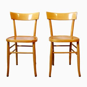 Vintage Italian Beech Osteria Chairs, 1970s, Set of 2